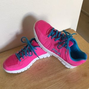 Hot pink and turquoise Fila shoes